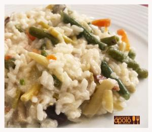 Arroz cremoso con verduras y jamón